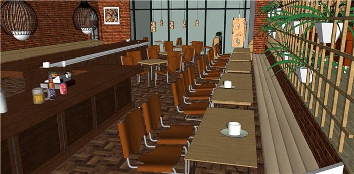欧式风格红砖咖啡厅奶茶店(6)