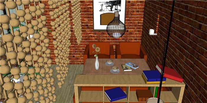 欧式风格红砖咖啡厅奶茶店(7)
