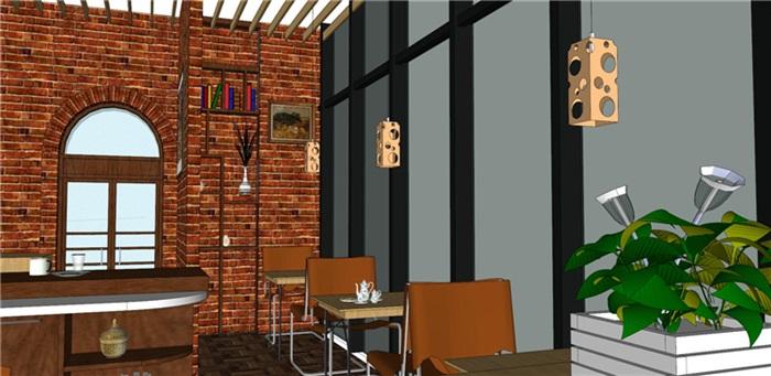 欧式风格红砖咖啡厅奶茶店(9)