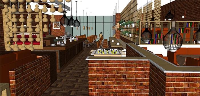 欧式风格红砖咖啡厅奶茶店(13)