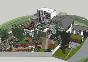 农村民居改造加建特色民宿客栈旅馆农家乐庭院景观