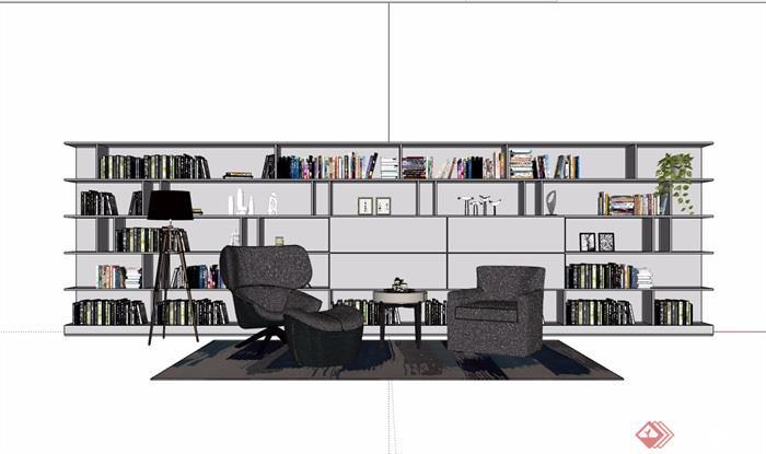 桌椅,灯饰,书柜家具组合素材设计su模型