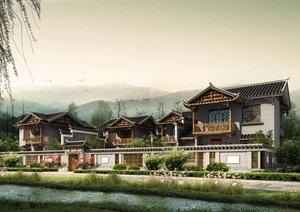 仿古古典中式川西民居住宅特色民宿酒店旅馆