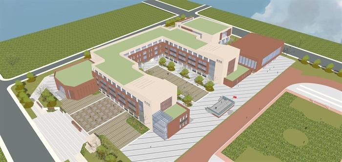 现代简约式风格小型小学学校校园规划设计(1)