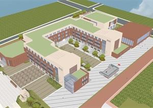 现代简约式风格小型小学学校校园规划设计
