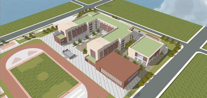 现代简约式风格小型小学学校校园规划设计(2)