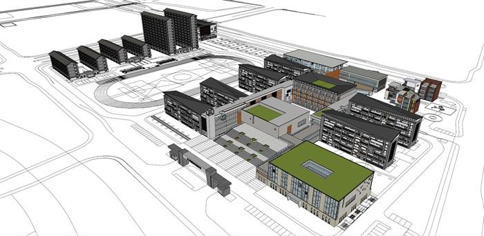 现代中式新中式风格中小学校校园规划设计(1)