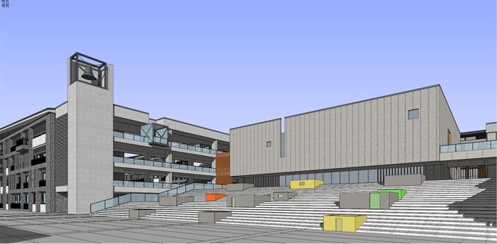 现代中式新中式风格中小学校校园规划设计(4)