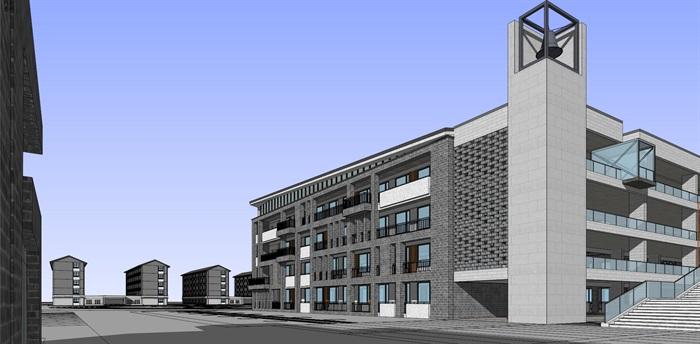 现代中式新中式风格中小学校校园规划设计(6)