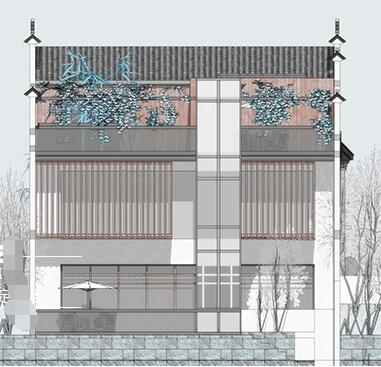 现代新中式徽派滨水茶楼亲水茶馆餐厅(2)