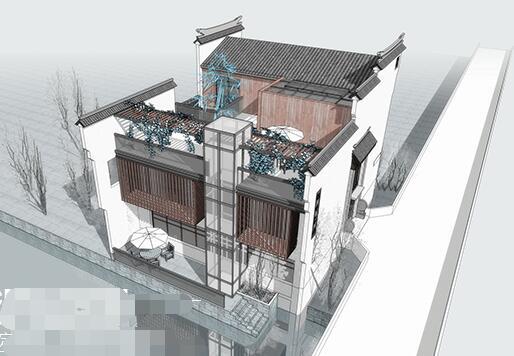 现代新中式徽派滨水茶楼亲水茶馆餐厅(1)