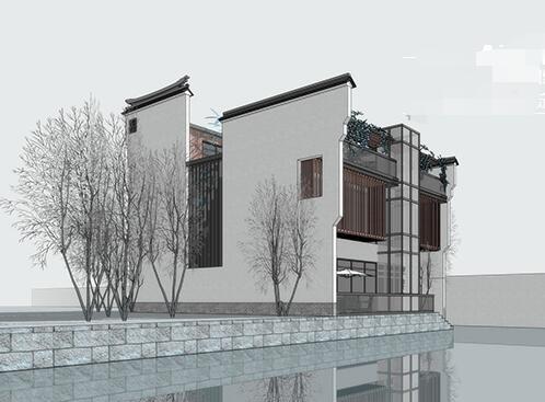 现代新中式徽派滨水茶楼亲水茶馆餐厅(4)