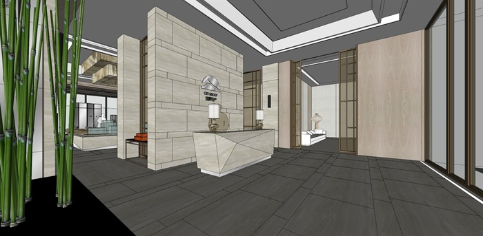 高端典雅风格售楼中心售楼处接待中心室内设计(2)