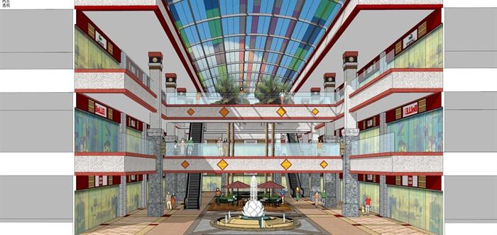 藏式风格玻璃顶棚商业街中庭室内设计(2)