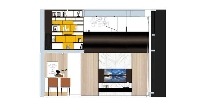 现代简约风精装LOFT住宅公寓室内设计(9)