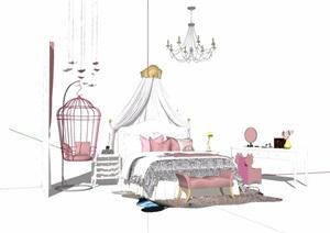 女儿房卧室床素材设计SU(草图大师)模型