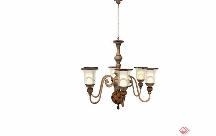 详细的完整欧式风格吊灯素材设计su模型