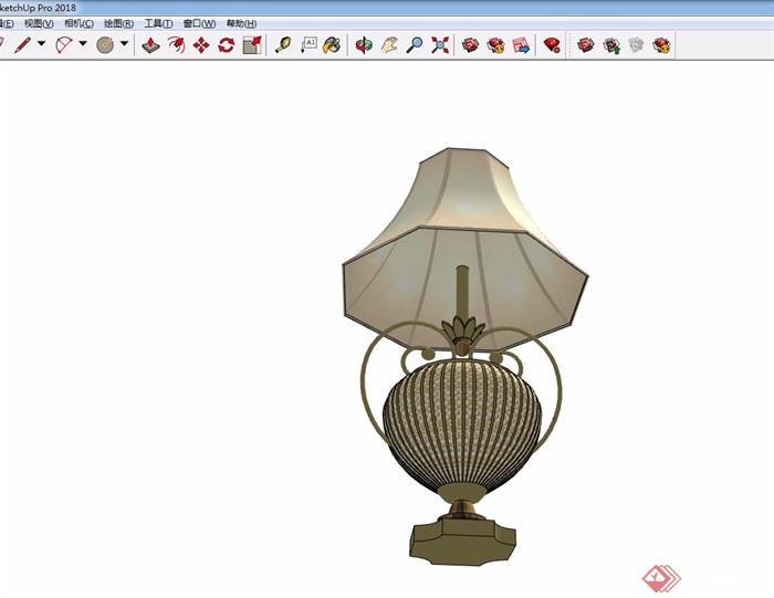 详细的完整欧式台灯素材设计su模型