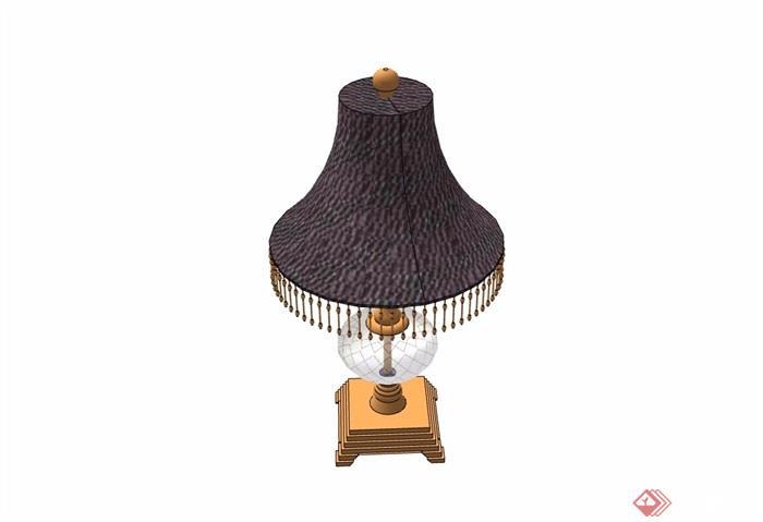 某欧式风格详细的台灯素材设计su模型