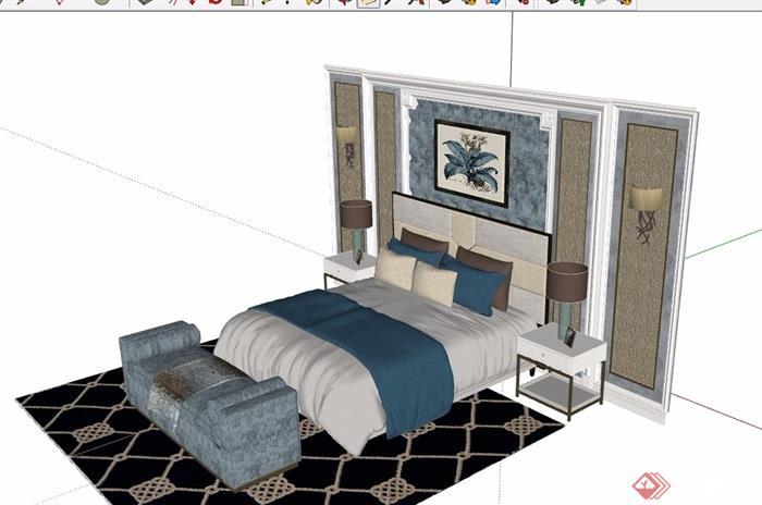 现代详细的室内卧室床家具素材设计su模型