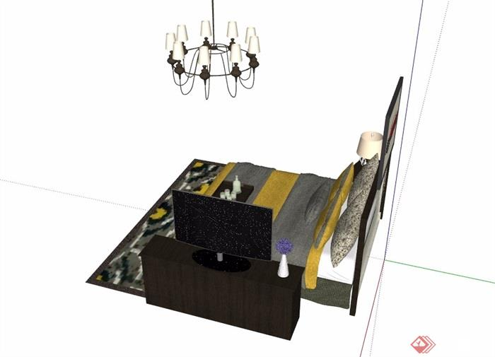 住宅详细的室内卧室床素材设计su模型