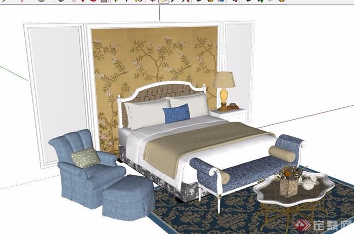 某欧式风格卧室床室内素材设计su模型