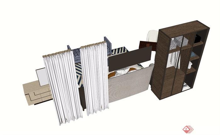 现代详细的完整室内卧室床素材设计su模型