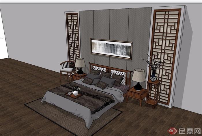 中式详细的室内卧室床素材设计su模型