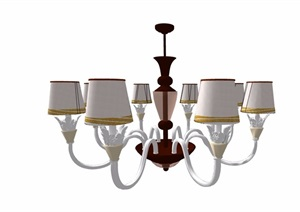 欧式风格详细的完整室内吊灯素材设计SU(草图大师)模型