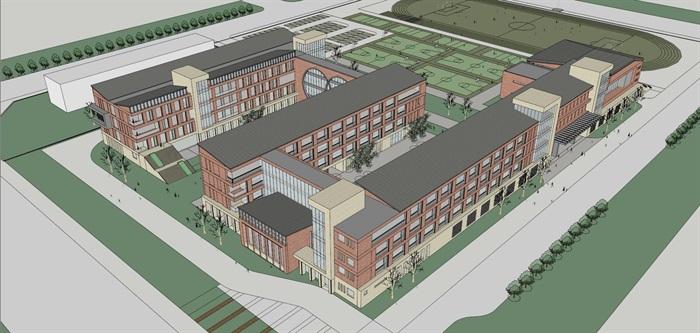 现代创意红砖表皮初中高中学校校园规划设计(1)