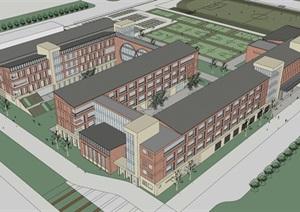 现代创意红砖表皮初中高中学校校园规划设计
