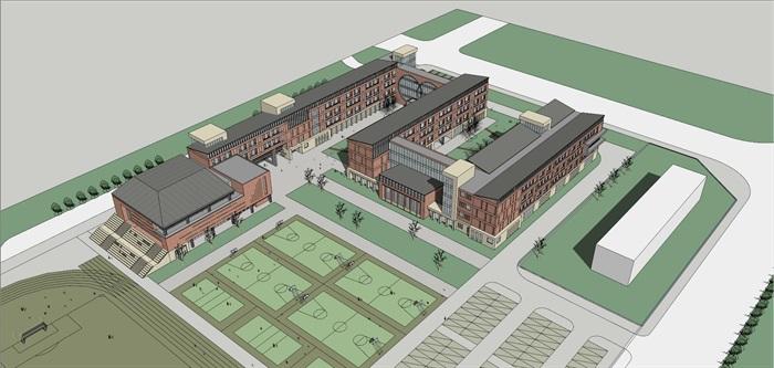 现代创意红砖表皮初中高中学校校园规划设计(2)