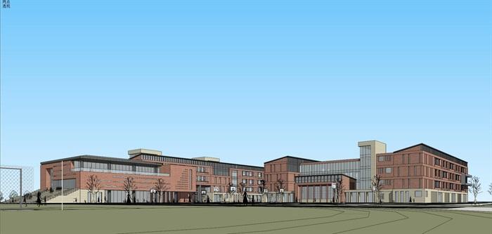 现代创意红砖表皮初中高中学校校园规划设计(3)