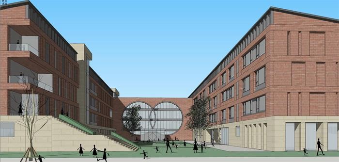 现代创意红砖表皮初中高中学校校园规划设计(6)