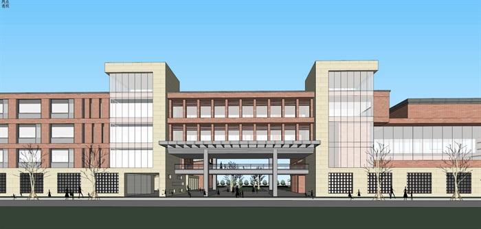现代创意红砖表皮初中高中学校校园规划设计(7)