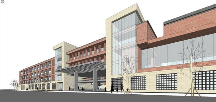 现代创意红砖表皮初中高中学校校园规划设计(8)