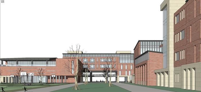 现代创意红砖表皮初中高中学校校园规划设计(9)