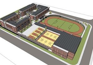 现代创意红砖表皮中小学校园规划设计