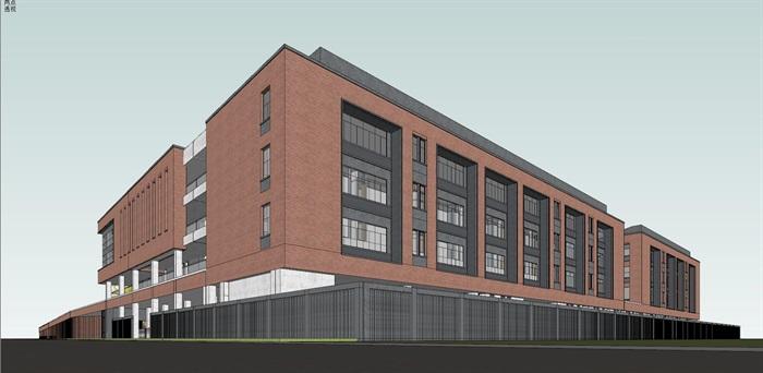 现代创意红砖表皮中小幸运飞艇学校 园规划设计(9)