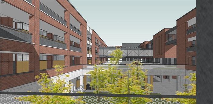现代创意红砖表皮中小幸运飞艇学校 园规划设计(10)