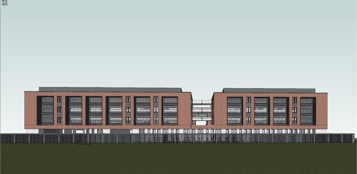 现代创意红砖表皮中小幸运飞艇学校 园规划设计(11)