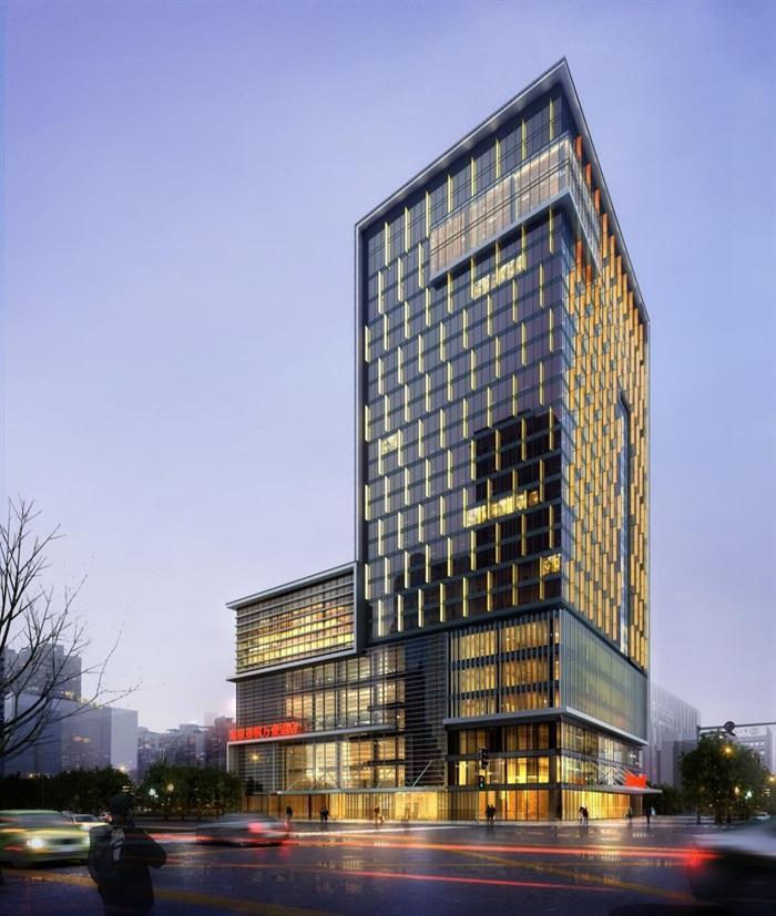万豪现代五星级酒店旅店宾馆建筑施工图设计(1)