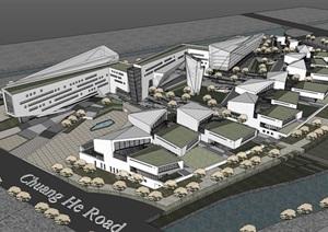上海浦东软件园办公楼产业园 SU(草图大师)模型