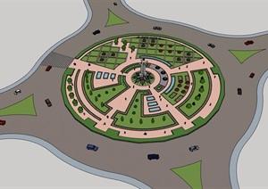 某中心游园景观素材设计SU(草图大师)模型