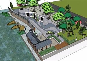 现代中式风格详细的广场景观设计SU(草图大师)模型