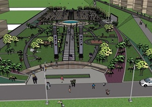 详细的广场景观设计SU(草图大师)模型