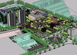 某详细的整体完整广场景观设计SU(草图大师)模型