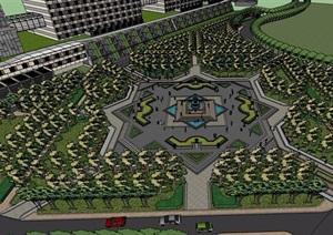 某详细的完整广场景观设计SU(草图大师)模型