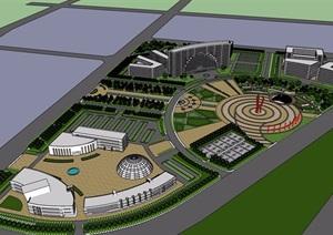 某整体详细的广场景观素材设计SU(草图大师)模型