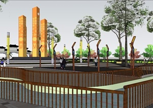 现代详细的广场完整景观设计SU(草图大师)模型